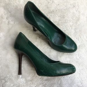 Tory Burch Green Embossed Snakeskin Leather Pumps